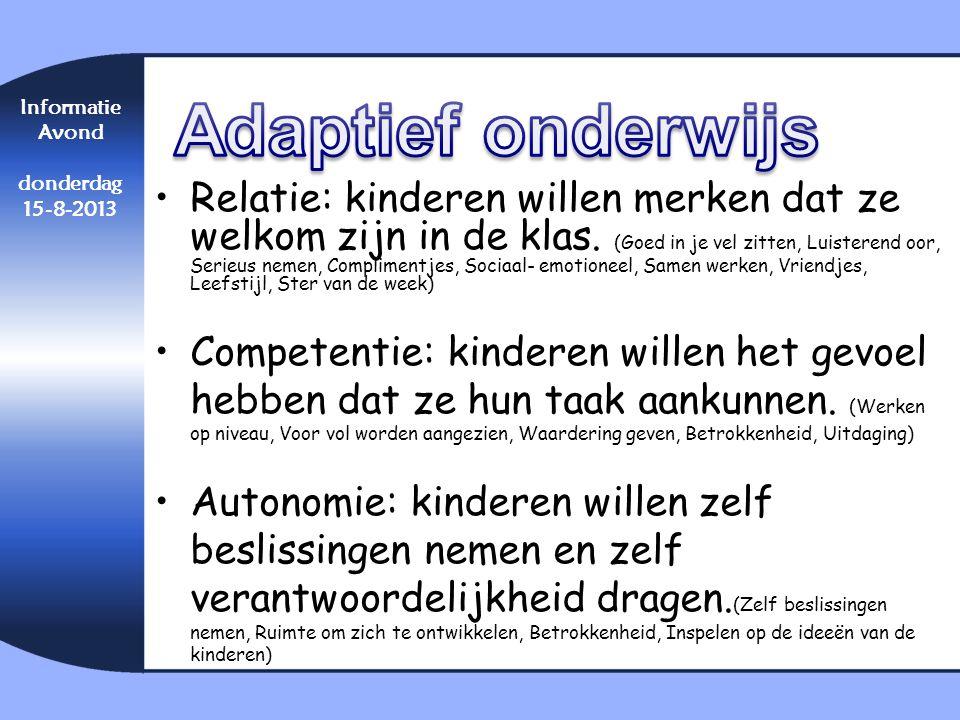 Adaptief onderwijs Informatie. Avond. donderdag. 15-8-2013.