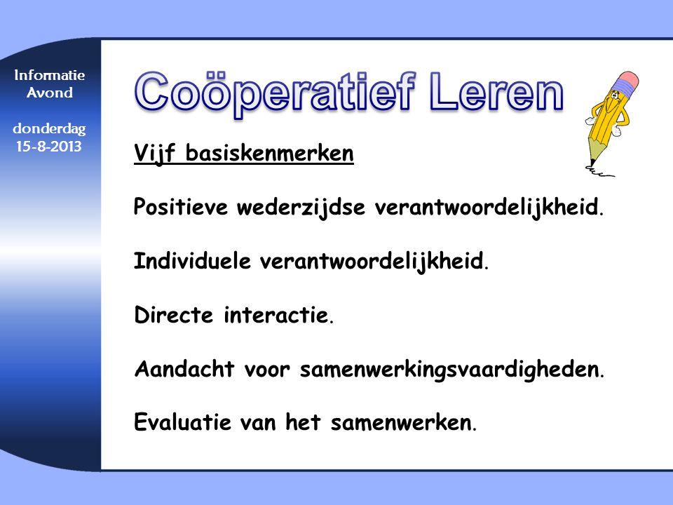 Coöperatief Leren Vijf basiskenmerken