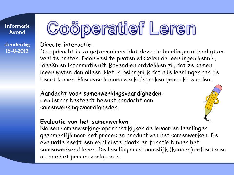 Coöperatief Leren Directe interactie.