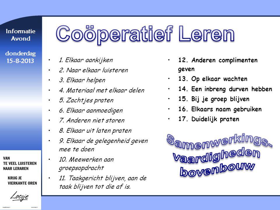 Coöperatief Leren Samenwerkings- vaardigheden bovenbouw Informatie
