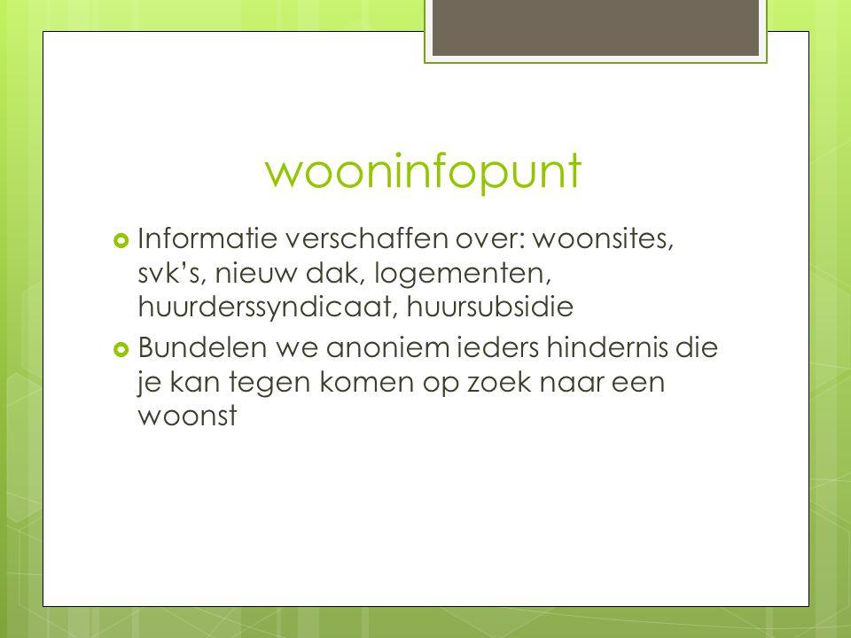 wooninfopunt Informatie verschaffen over: woonsites, svk's, nieuw dak, logementen, huurderssyndicaat, huursubsidie.