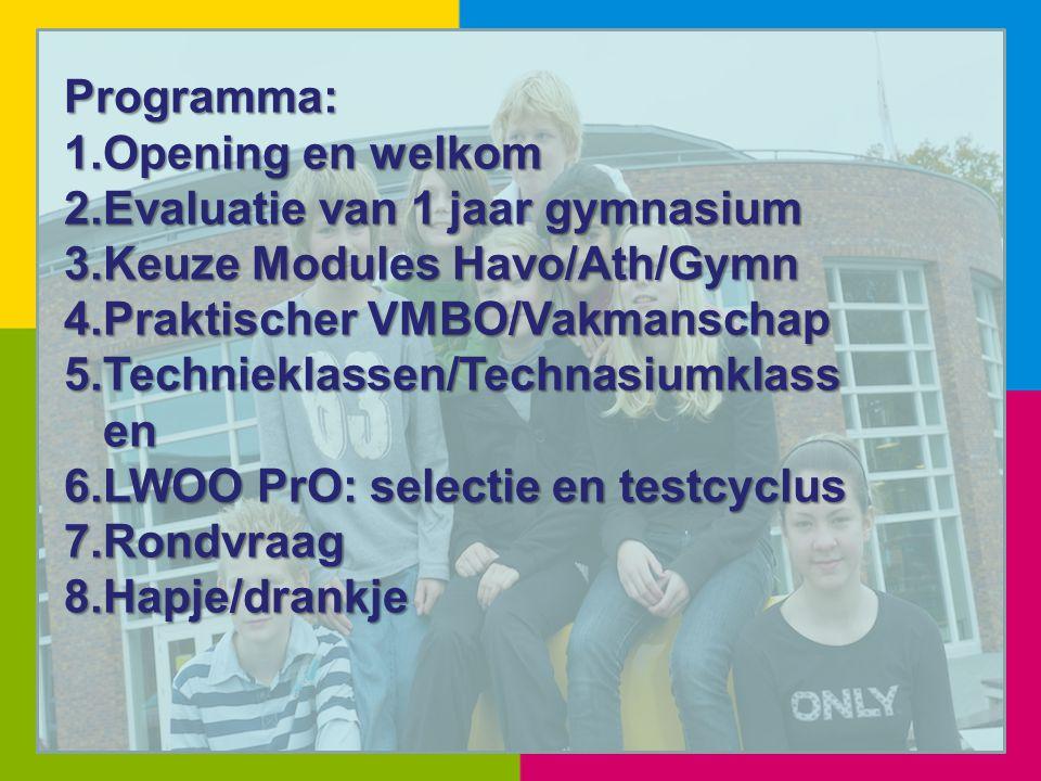 Programma: Opening en welkom. Evaluatie van 1 jaar gymnasium. Keuze Modules Havo/Ath/Gymn. Praktischer VMBO/Vakmanschap.