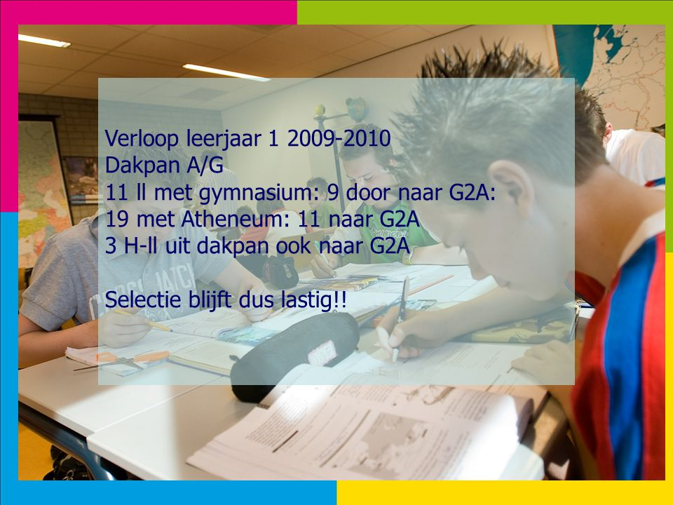 Verloop leerjaar 1 2009-2010 Dakpan A/G