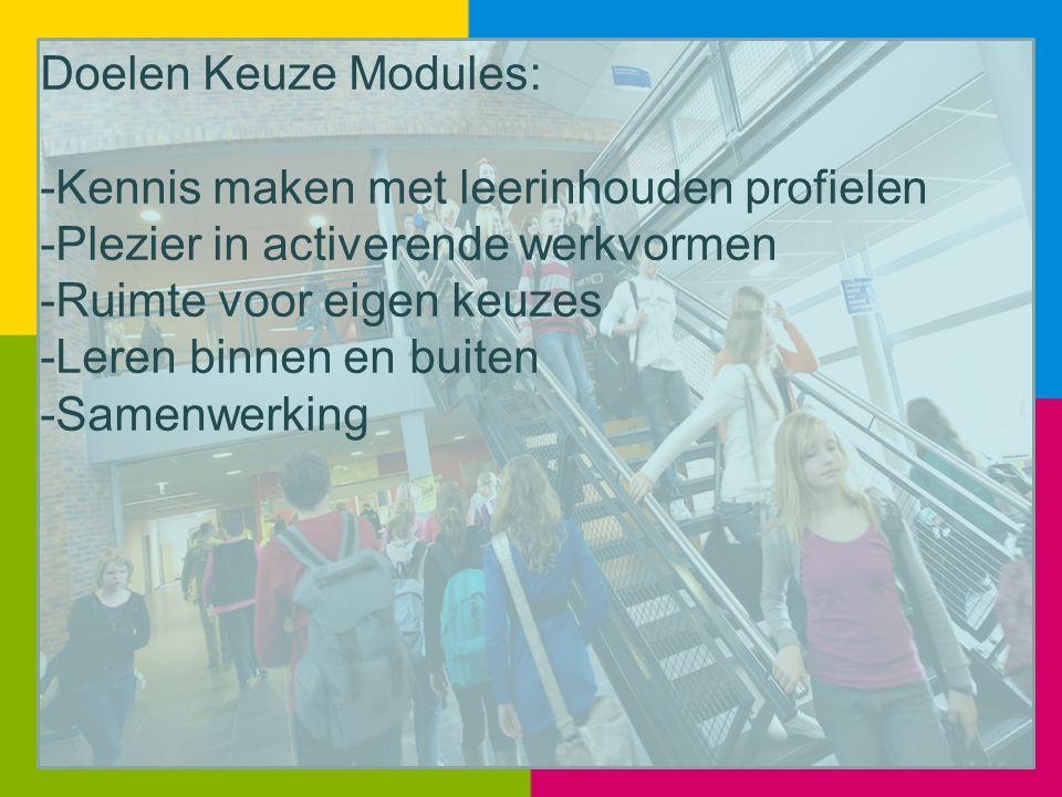 Doelen Keuze Modules: -Kennis maken met leerinhouden profielen. -Plezier in activerende werkvormen.