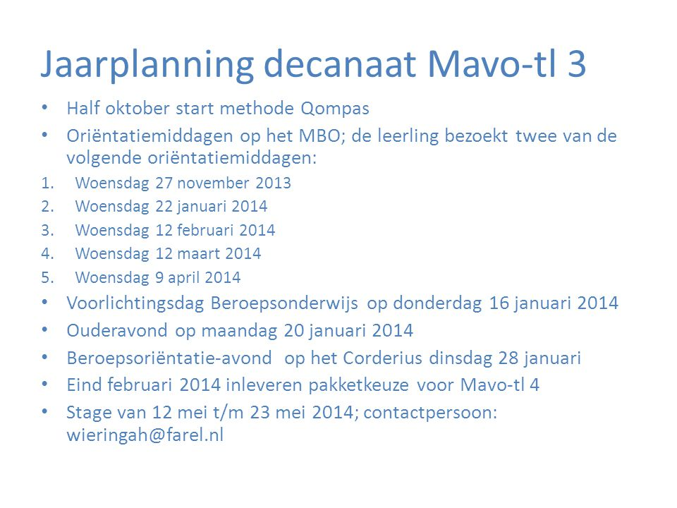 Jaarplanning decanaat Mavo-tl 3