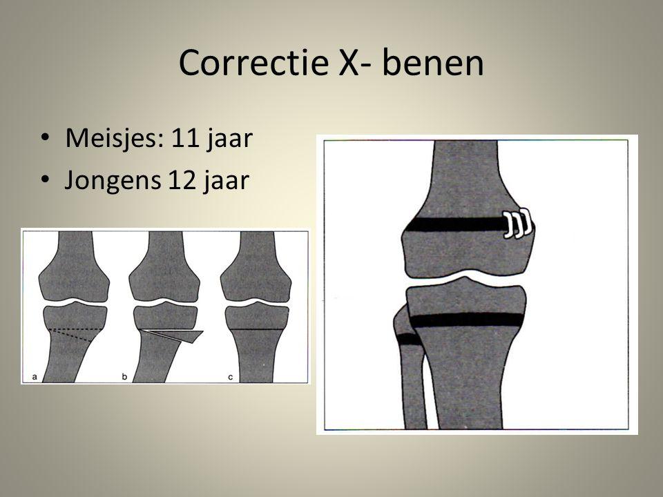 Correctie X- benen Meisjes: 11 jaar Jongens 12 jaar