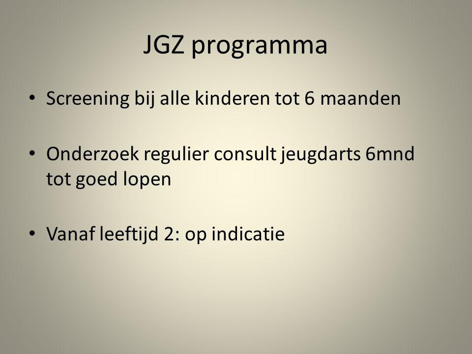 JGZ programma Screening bij alle kinderen tot 6 maanden
