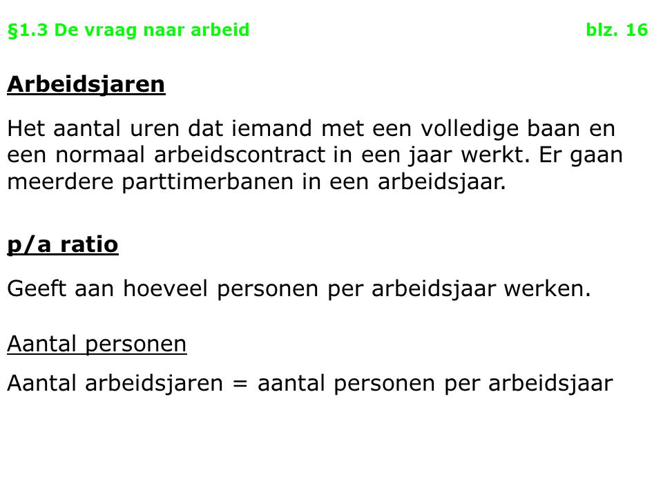 §1.3 De vraag naar arbeid blz. 16