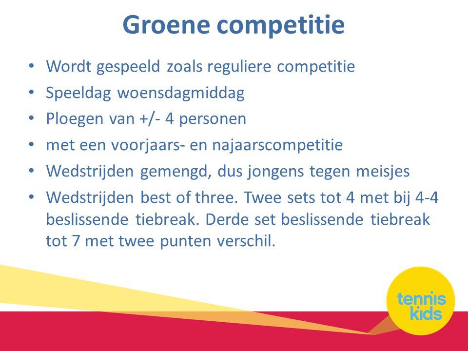 Groene competitie Wordt gespeeld zoals reguliere competitie