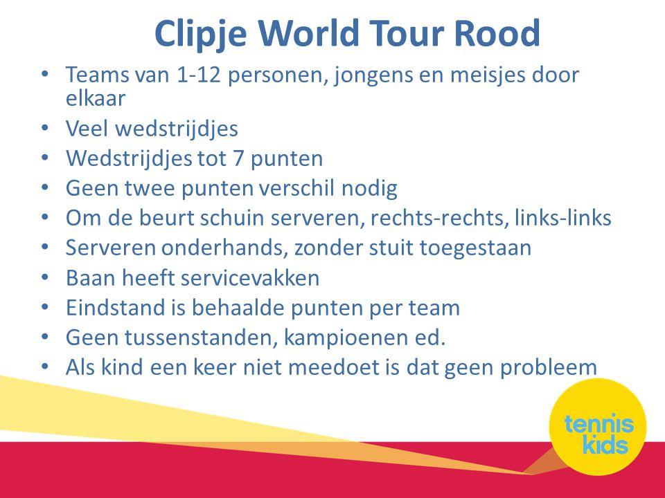 Clipje World Tour Rood Teams van 1-12 personen, jongens en meisjes door elkaar. Veel wedstrijdjes.