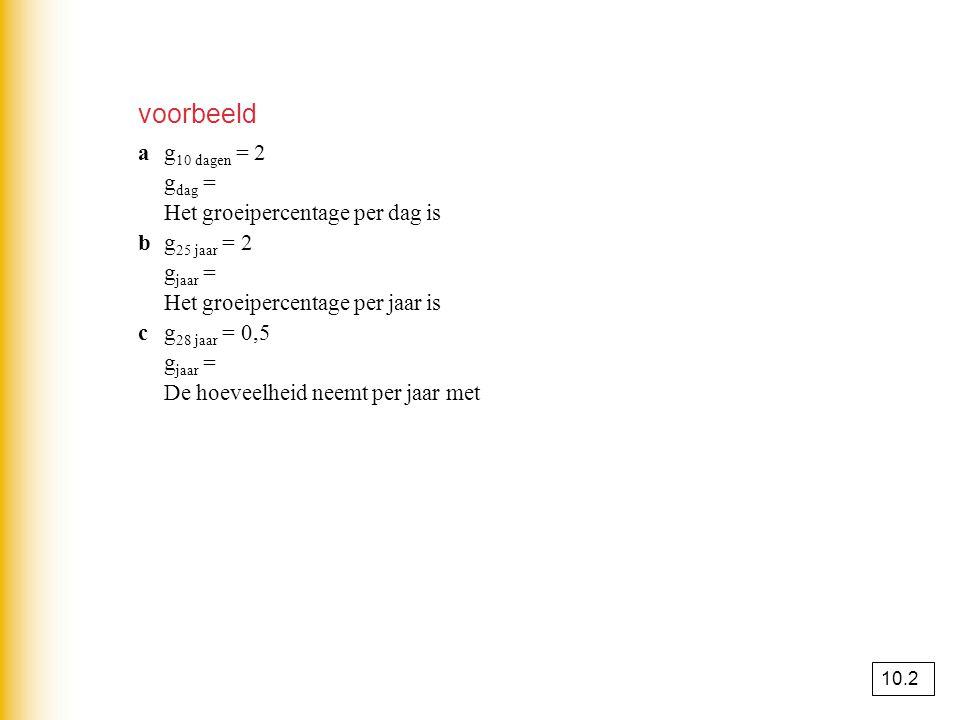 voorbeeld a g10 dagen = 2 gdag = 2(1/10) ≈ 1,072