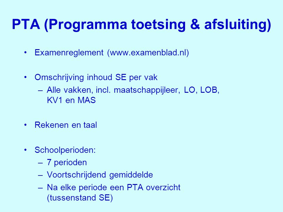 PTA (Programma toetsing & afsluiting)