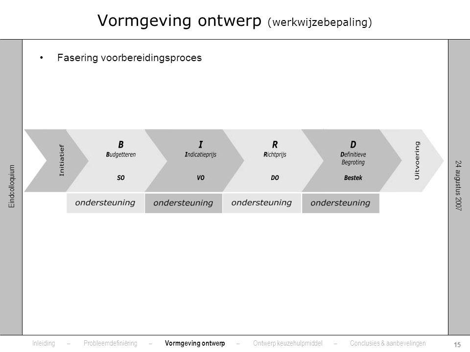 Vormgeving ontwerp (werkwijzebepaling)