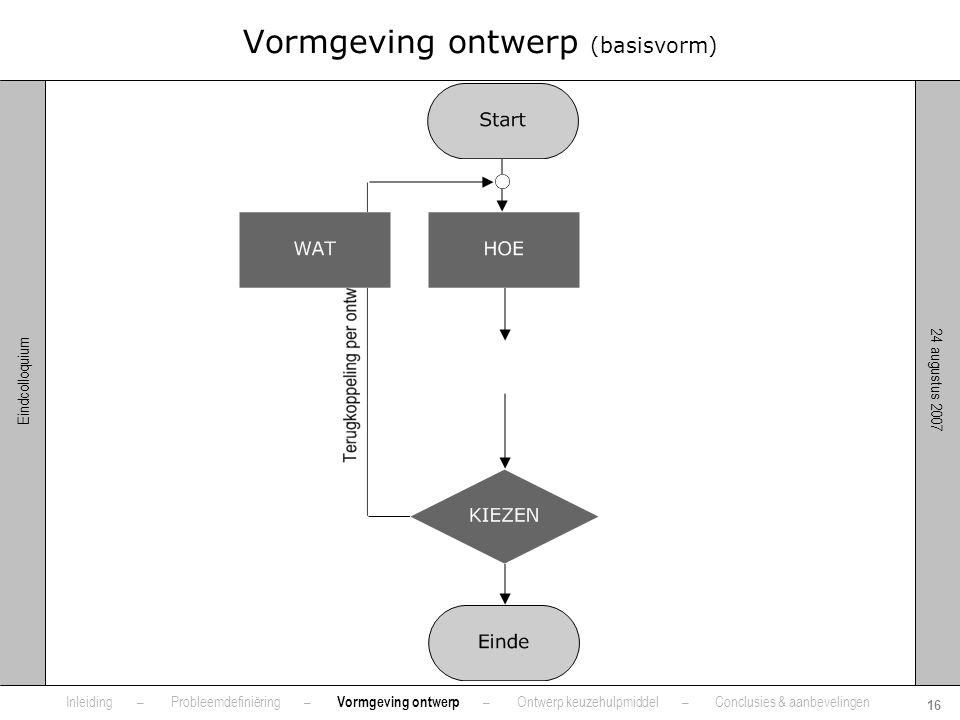 Vormgeving ontwerp (basisvorm)