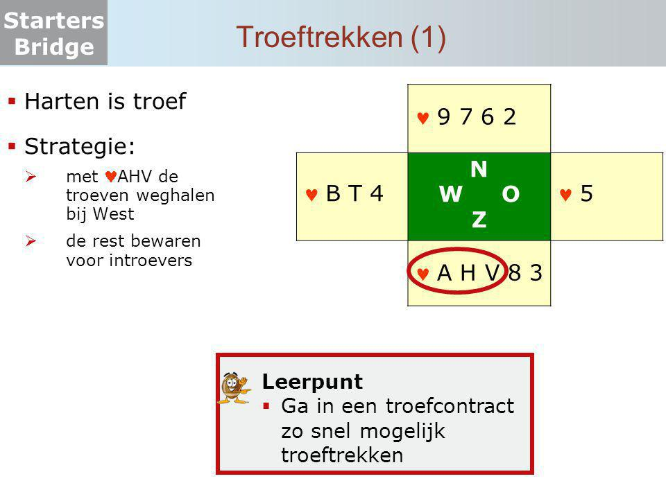 Troeftrekken (1) Harten is troef Strategie:  9 7 6 2  B T 4 N W O Z