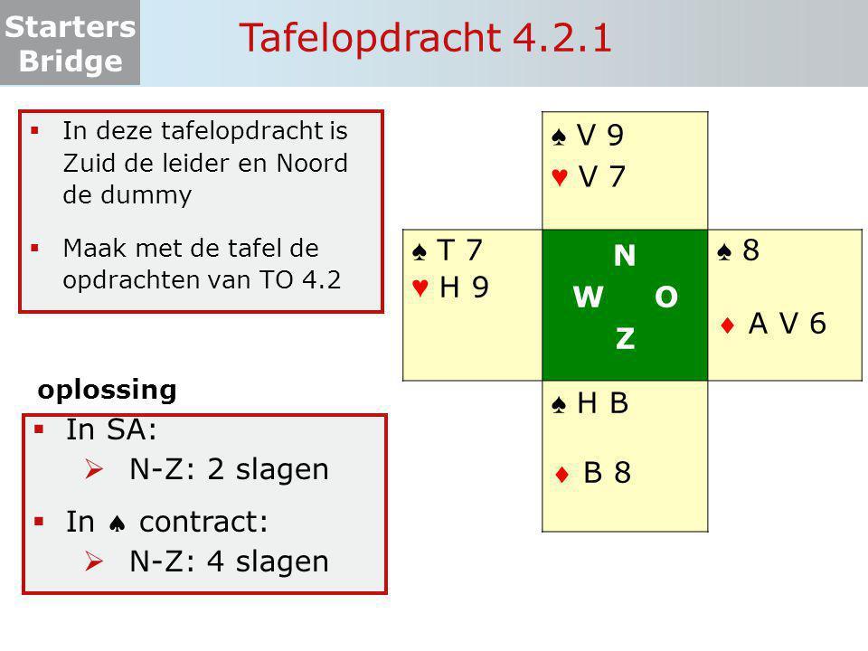 Tafelopdracht 4.2.1 ♠ V 9 ♥ V 7 ♠ T 7 ♥ H 9 N W O Z ♠ 8  A V 6 ♠ H B