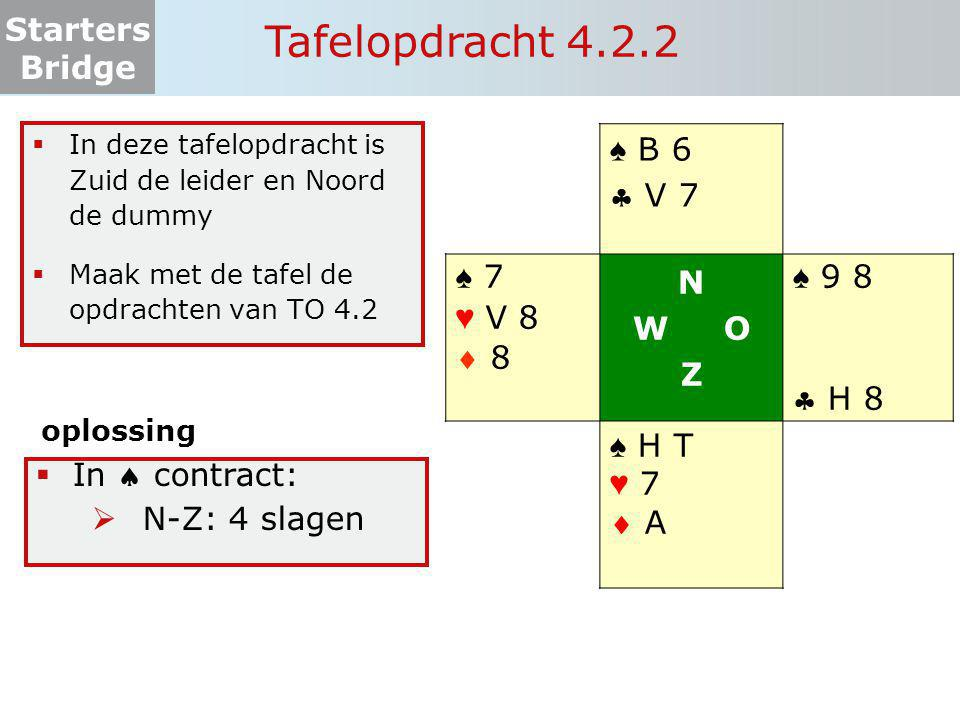 Tafelopdracht 4.2.2 ♠ B 6  V 7 ♠ 7 ♥ V 8  8 N W O Z ♠ 9 8  H 8