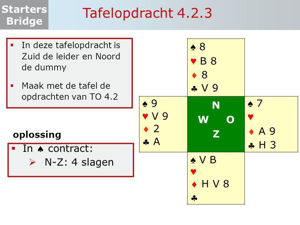 Tafelopdracht 4.2.3 ♠ 8 ♥ B 8  8  V 9 ♠ 9 ♥ V 9  2  A N W O Z ♠ 7