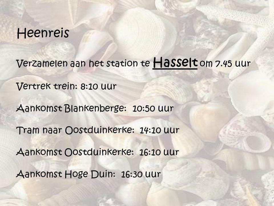Heenreis Verzamelen aan het station te Hasselt om 7.45 uur