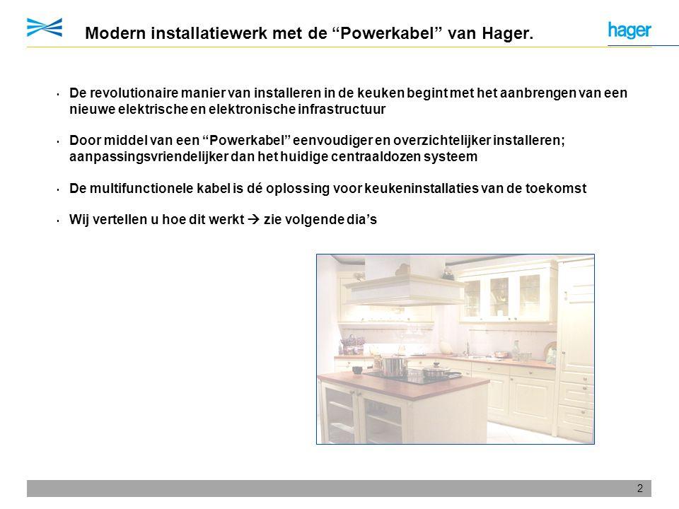 Modern installatiewerk met de Powerkabel van Hager.