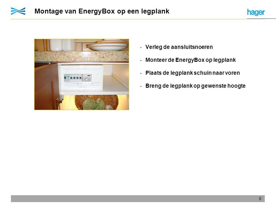 Montage van EnergyBox op een legplank