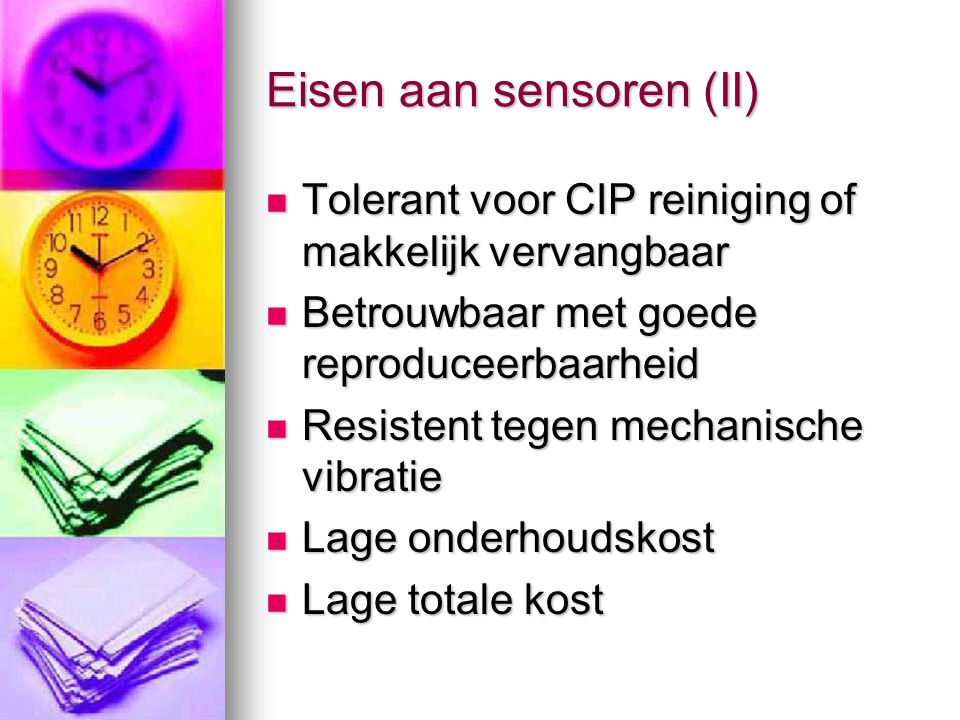 Eisen aan sensoren (II)