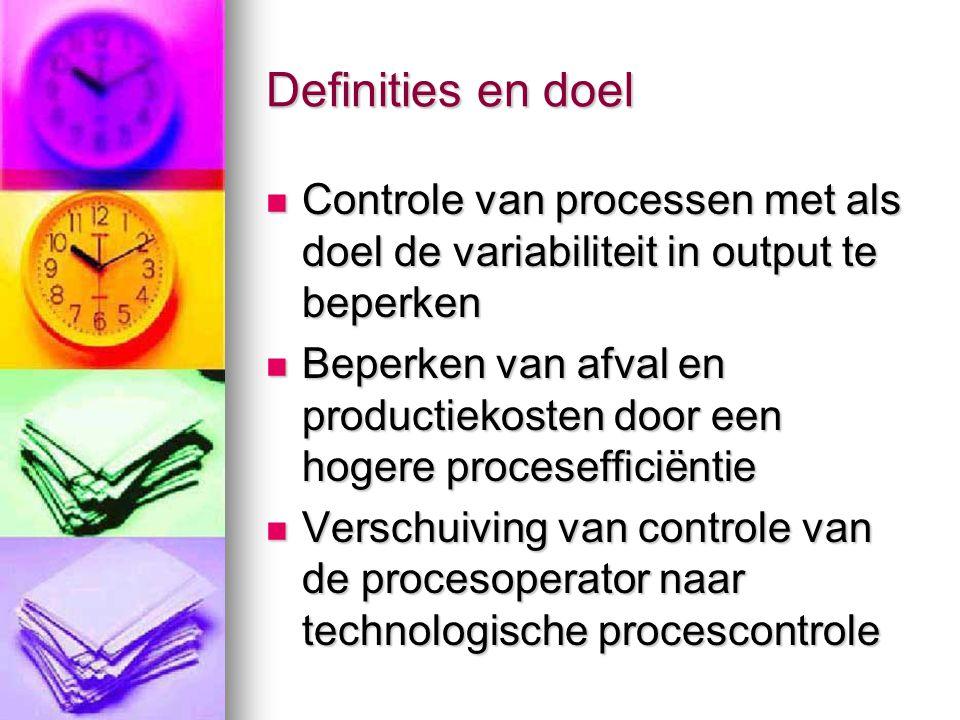 Definities en doel Controle van processen met als doel de variabiliteit in output te beperken.