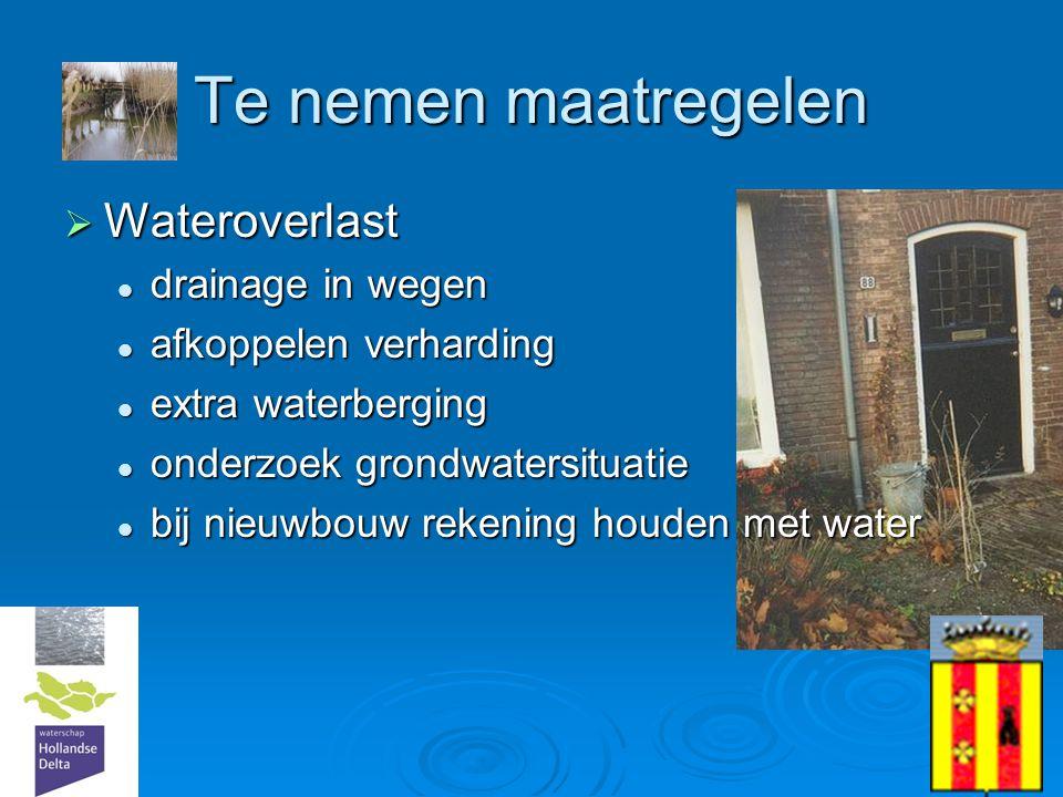 Te nemen maatregelen Wateroverlast drainage in wegen