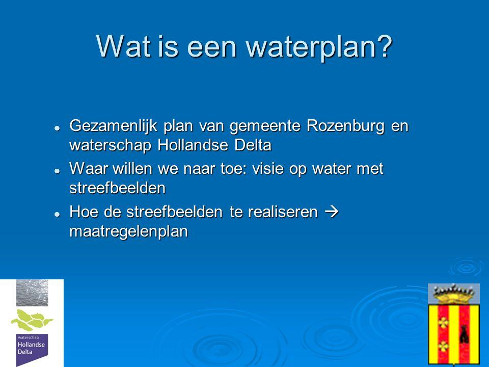 Wat is een waterplan Gezamenlijk plan van gemeente Rozenburg en waterschap Hollandse Delta.