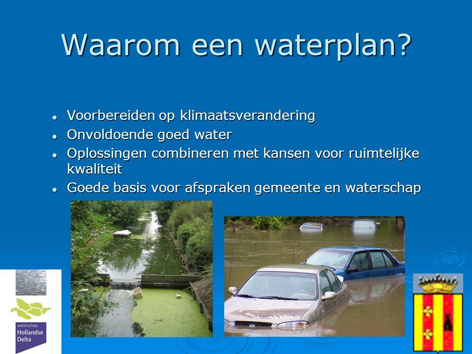 Waarom een waterplan Voorbereiden op klimaatsverandering