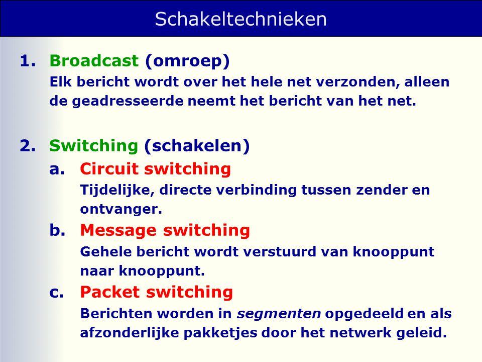 Schakeltechnieken 1. Broadcast (omroep) 2. Switching (schakelen)