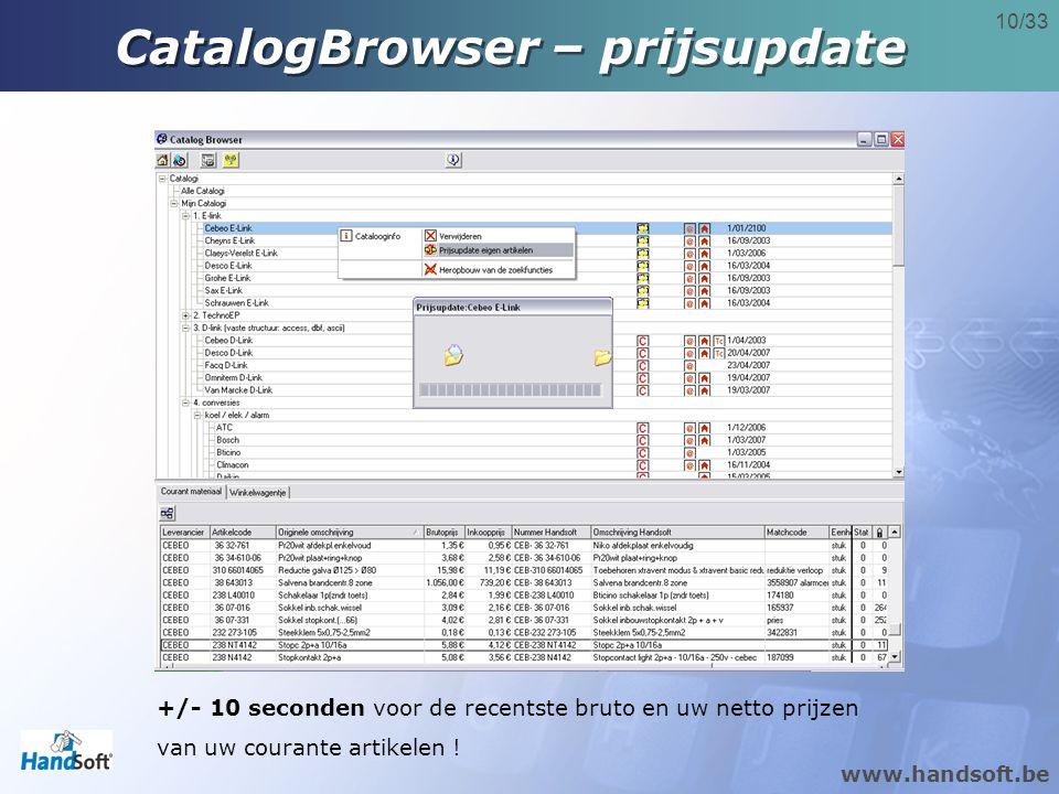 CatalogBrowser – prijsupdate