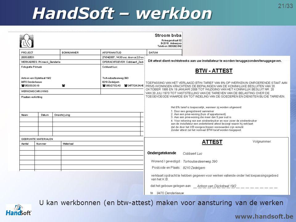 HandSoft – werkbon U kan werkbonnen (en btw-attest) maken voor aansturing van de werken