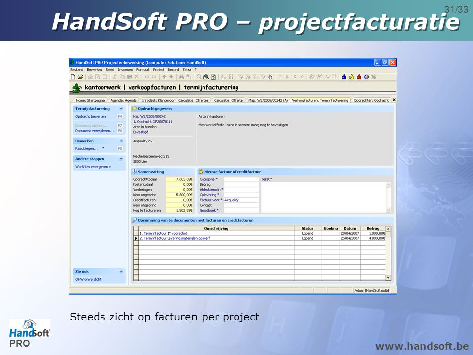 HandSoft PRO – projectfacturatie