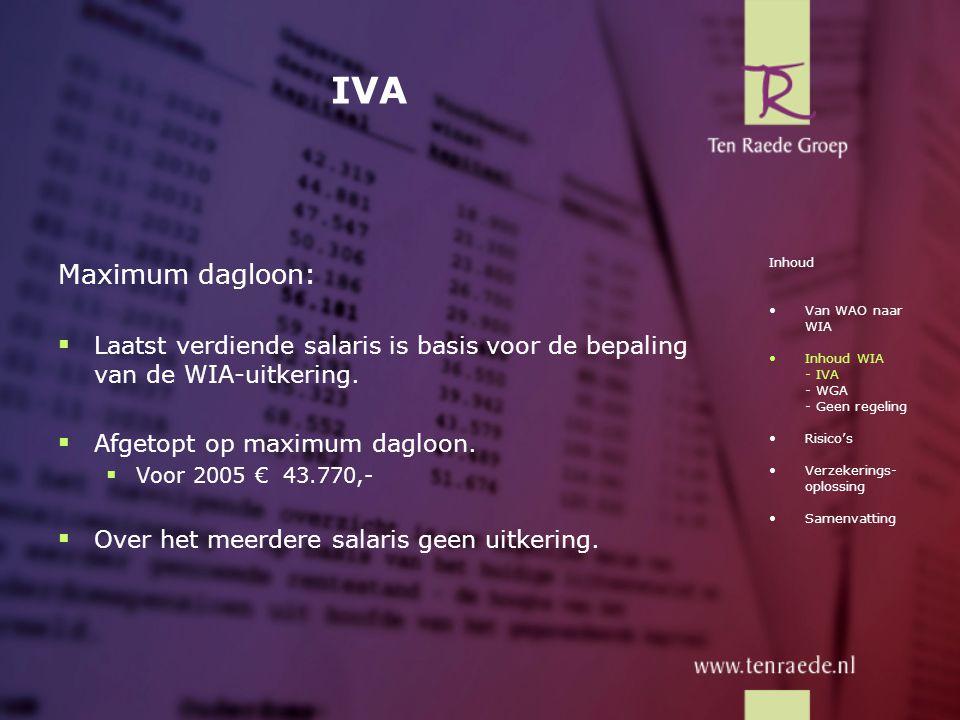IVA Maximum dagloon: Laatst verdiende salaris is basis voor de bepaling van de WIA-uitkering. Afgetopt op maximum dagloon.