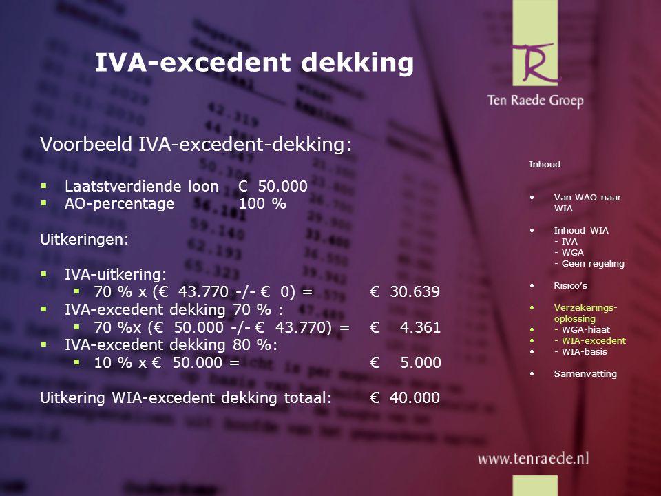 IVA-excedent dekking Voorbeeld IVA-excedent-dekking: