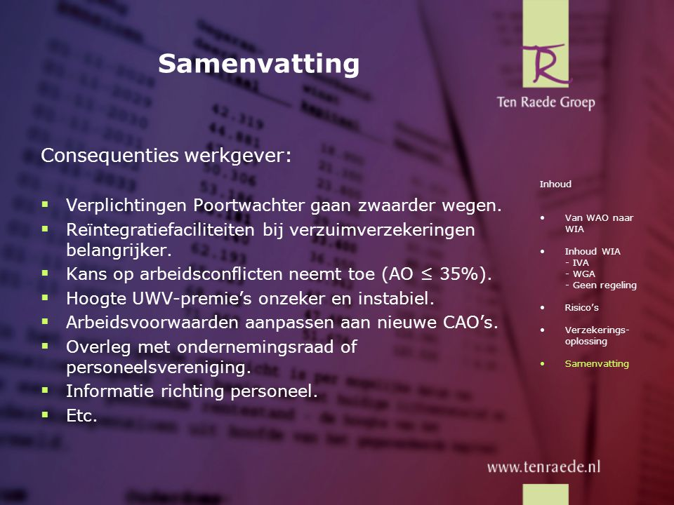 Samenvatting Consequenties werkgever: