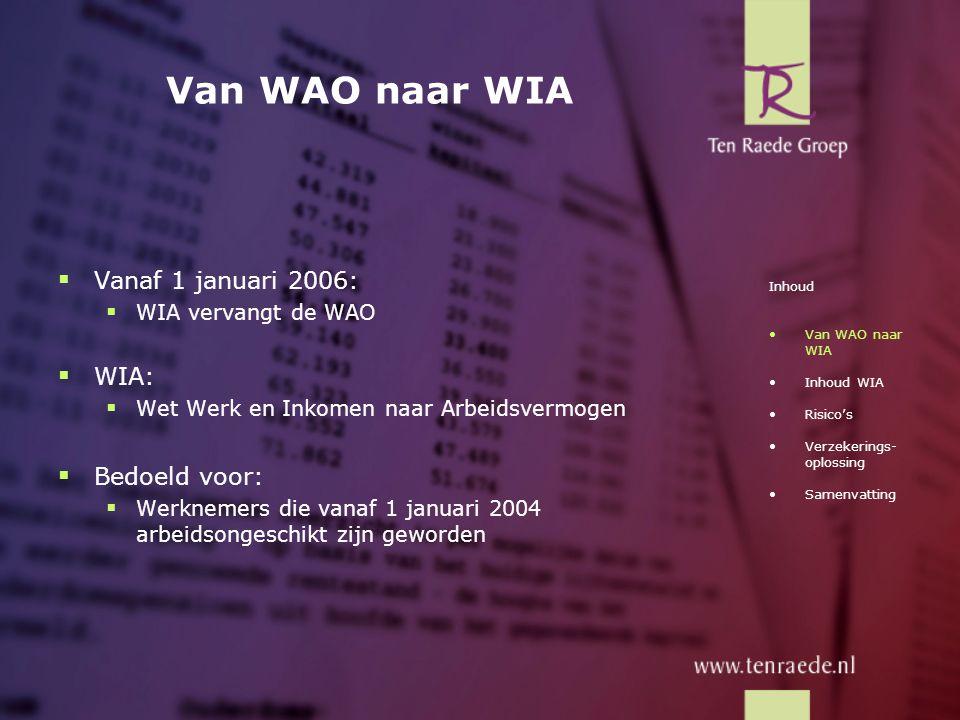 Van WAO naar WIA Vanaf 1 januari 2006: WIA: Bedoeld voor: