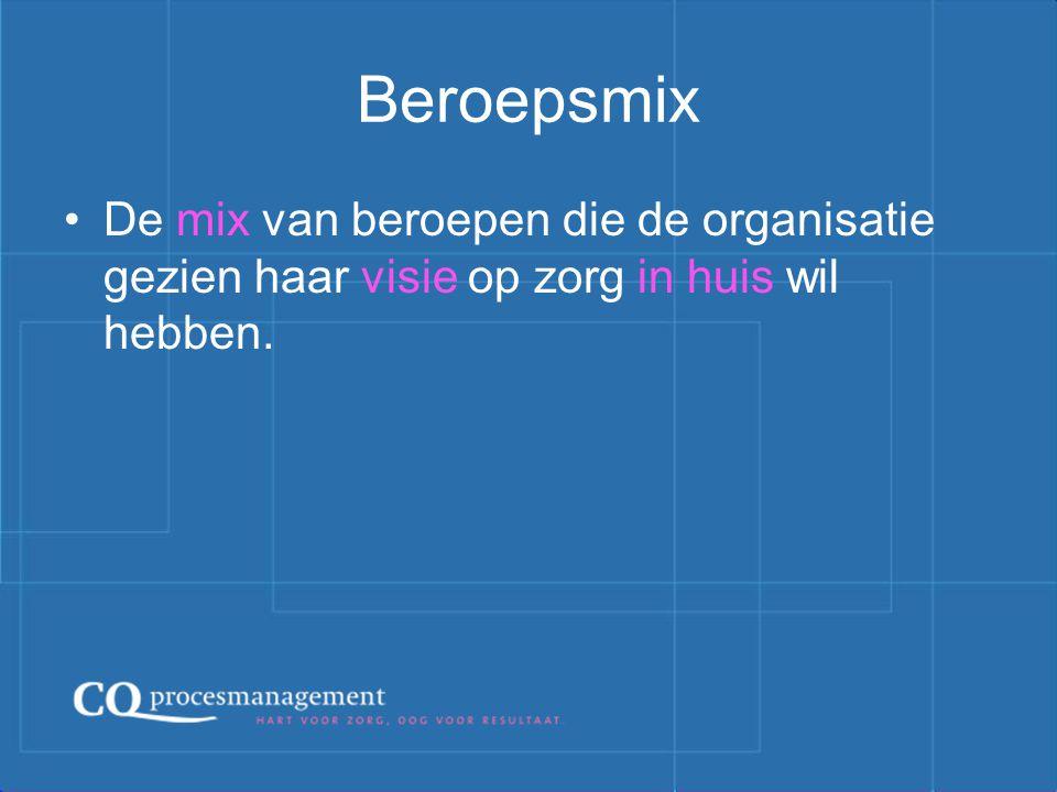 Beroepsmix De mix van beroepen die de organisatie gezien haar visie op zorg in huis wil hebben.