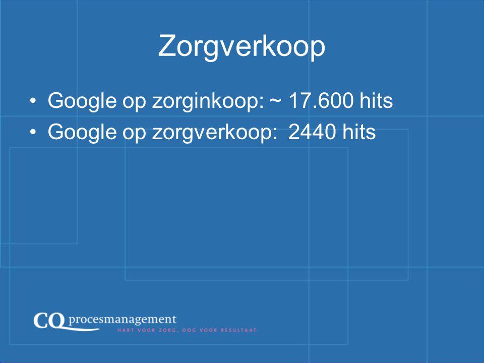 Zorgverkoop Google op zorginkoop: ~ 17.600 hits