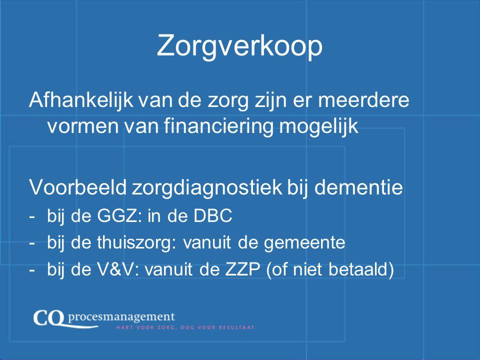 Zorgverkoop Afhankelijk van de zorg zijn er meerdere vormen van financiering mogelijk. Voorbeeld zorgdiagnostiek bij dementie.