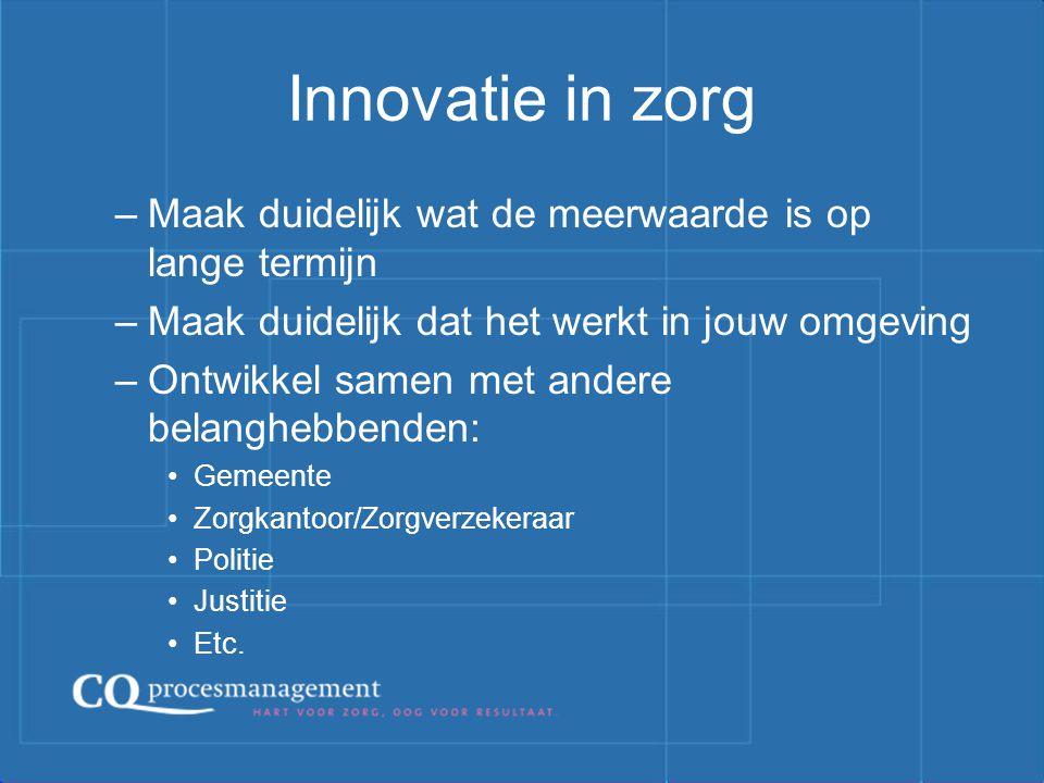 Innovatie in zorg Maak duidelijk wat de meerwaarde is op lange termijn