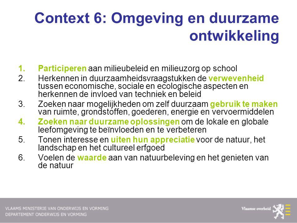 Context 6: Omgeving en duurzame ontwikkeling