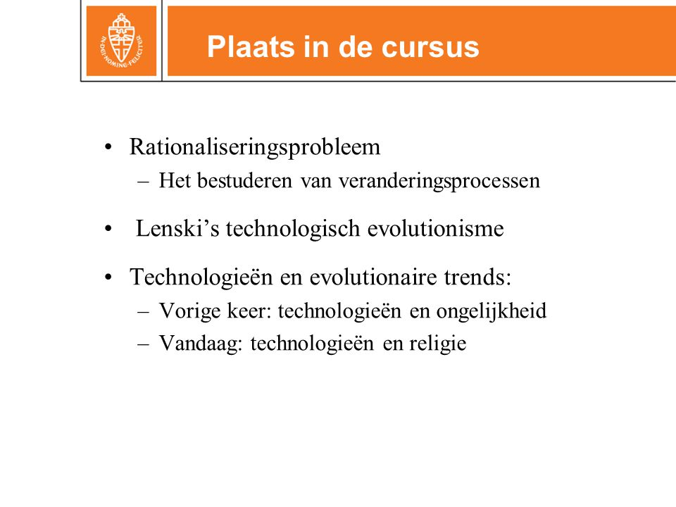 Plaats in de cursus Rationaliseringsprobleem
