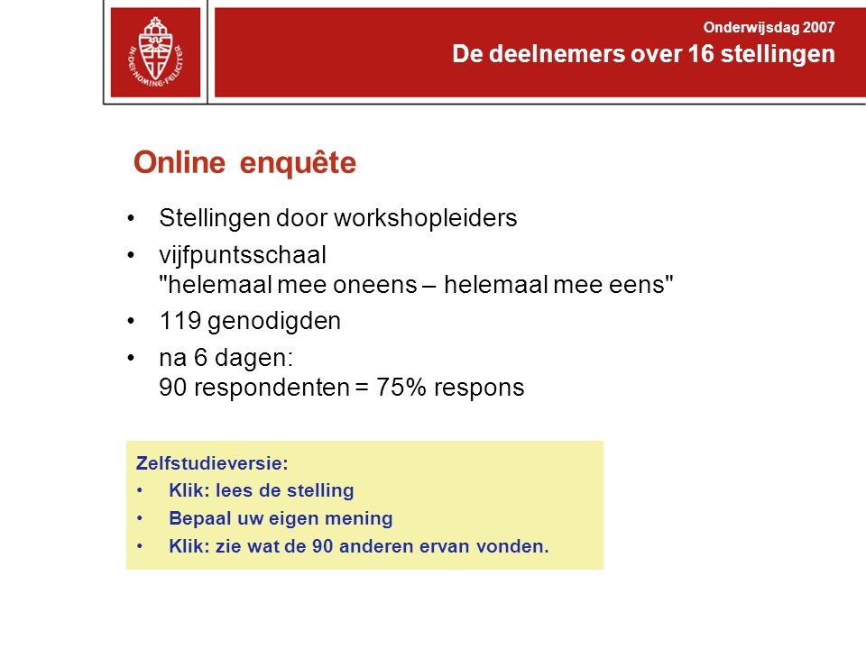Online enquête Stellingen door workshopleiders