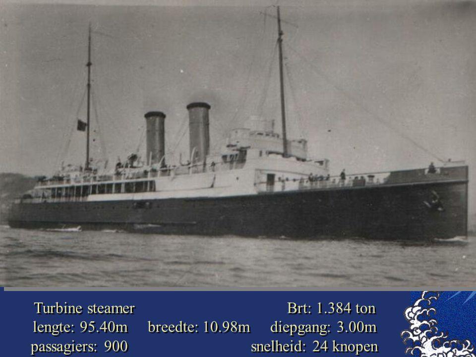 Turbine steamer Brt: 1. 384 ton lengte: 95. 40m breedte: 10