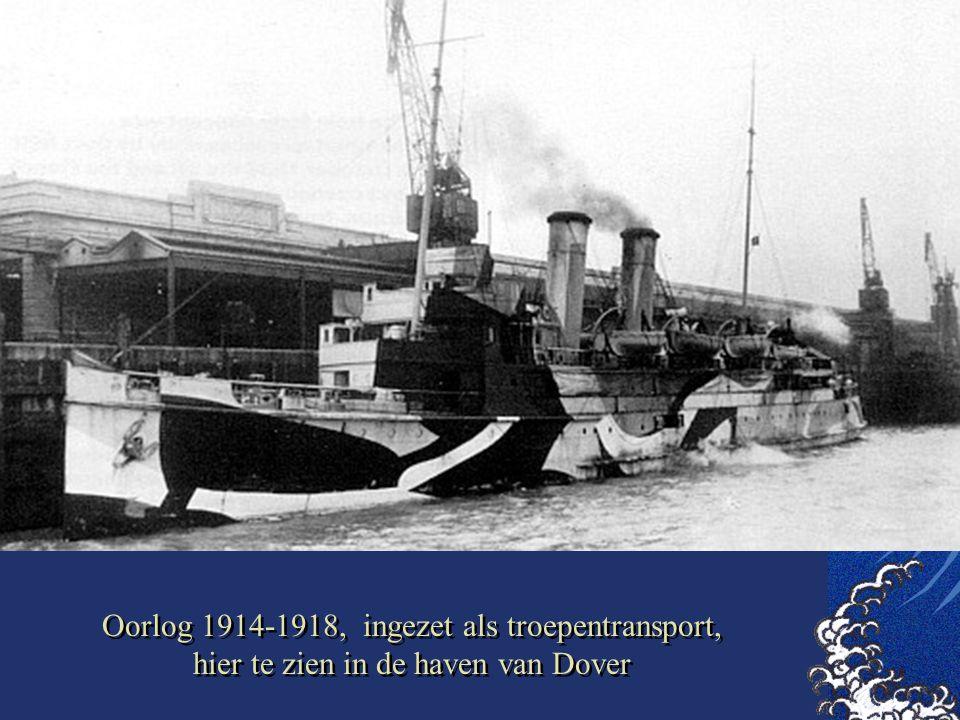 Oorlog 1914-1918, ingezet als troepentransport, hier te zien in de haven van Dover