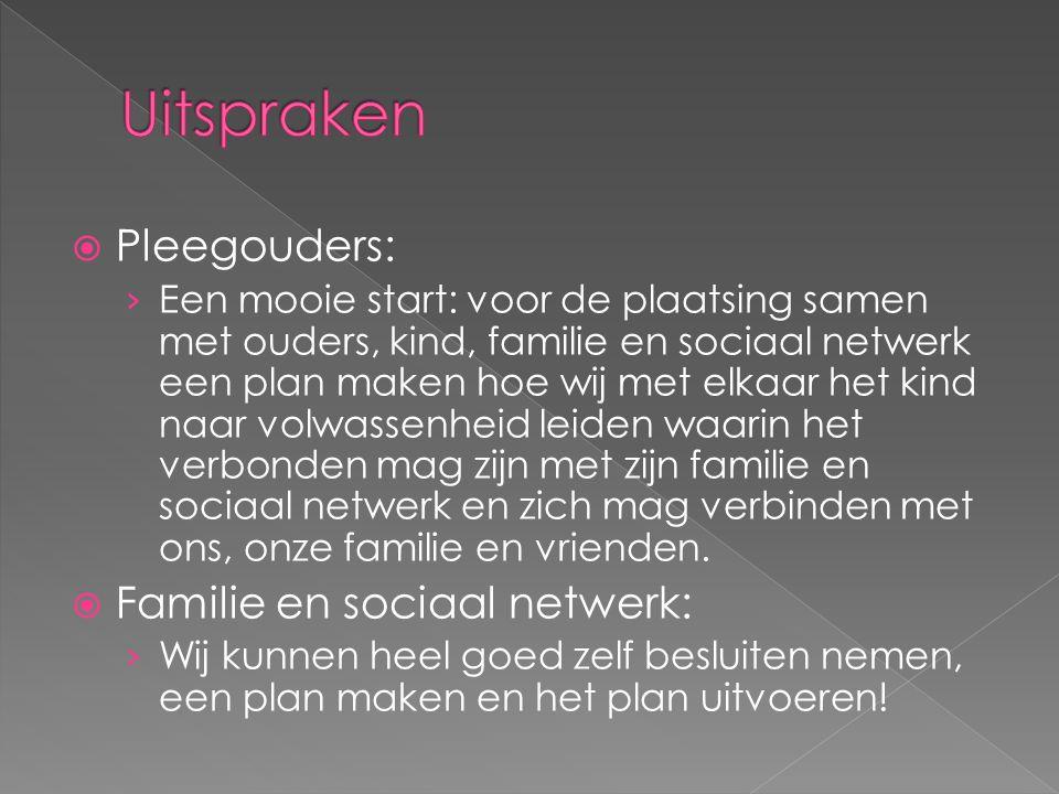 Uitspraken Pleegouders: Familie en sociaal netwerk: