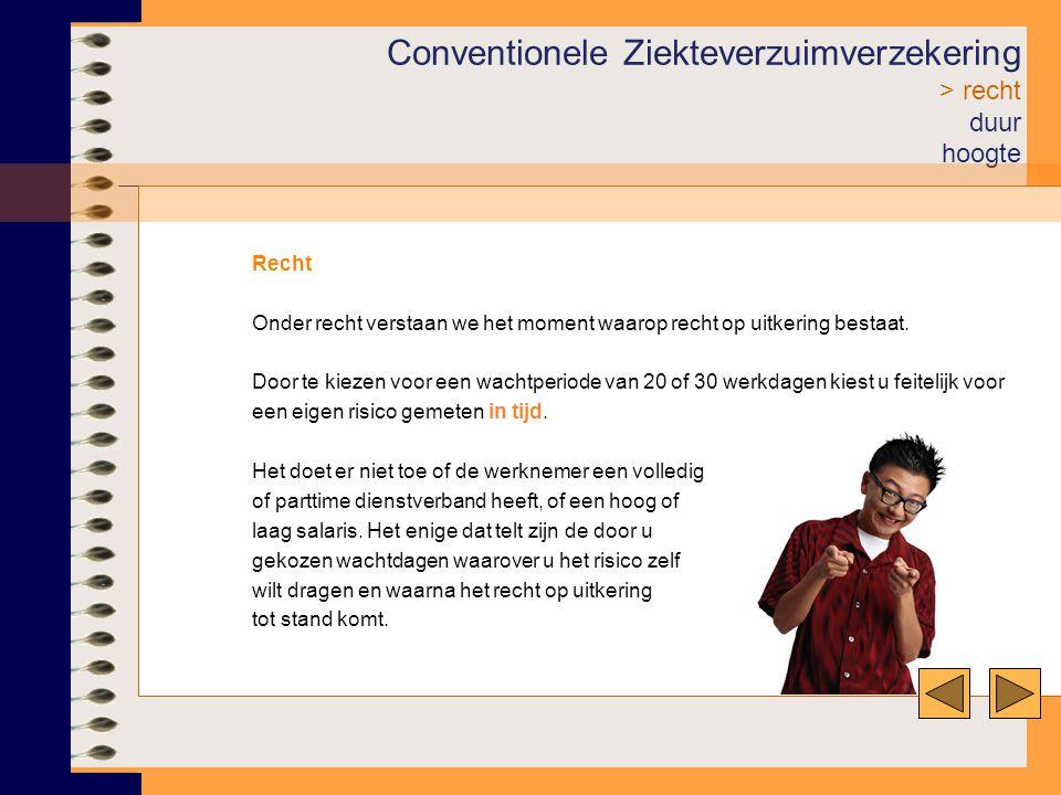 Conventionele Ziekteverzuimverzekering > recht duur hoogte