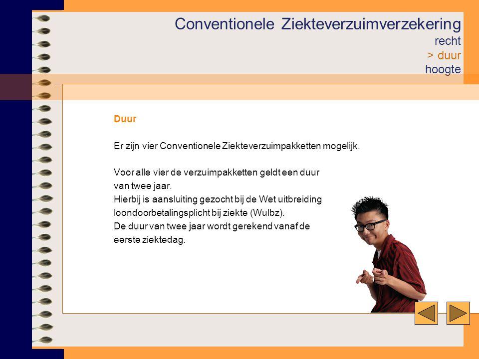 Conventionele Ziekteverzuimverzekering recht > duur hoogte